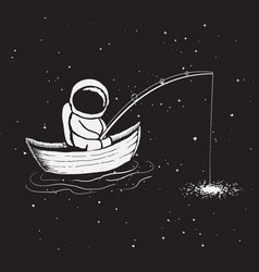 astronaut sits in boat and catches a stars vector image
