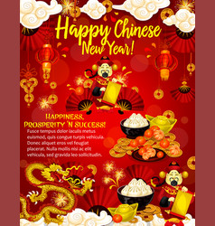 Chinese new year poster for asian culture holidays vector