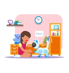 Girl playing with home cat robot robotics vector