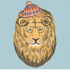 hipster wild big cat lion vector image vector image