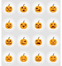 pumpkins for halloween flat icons 17 vector image vector image