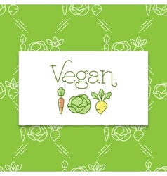Vegan icon and logo concept in a line art style vector image vector image