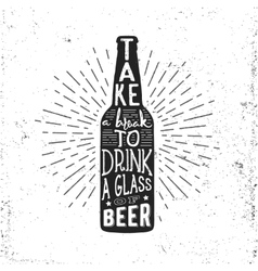 Hand drawn vintage label with beer bottle vector image