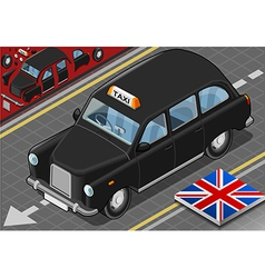 Isometric Black London Taxi in Front View vector image