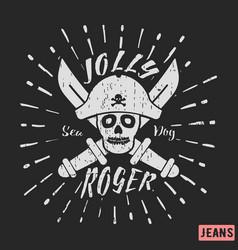 jolly roger pirate vintage stamp vector image