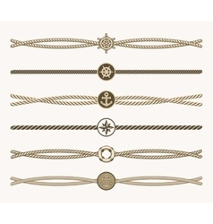 Nautical vintage rope dividers vector