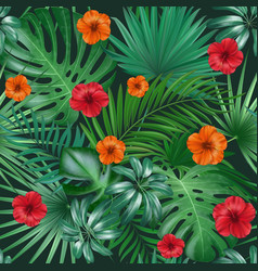 seamless hand drawn tropical pattern with vector image vector image