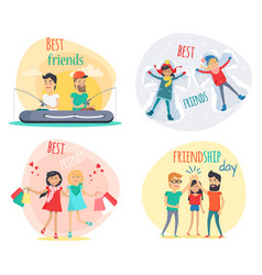 set of best friends and friendship day flat design vector image vector image