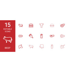 15 beef icons vector