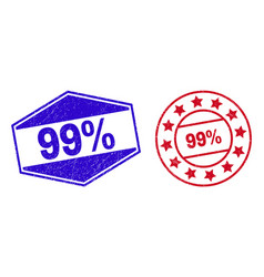99 percents unclean stamp seals in circle and vector