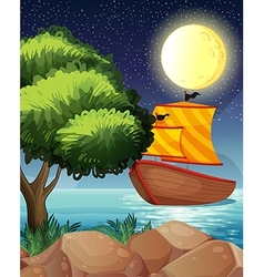 A ship across the tree vector