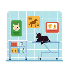 animals in cabinet vet hospital vector image