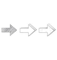 arrows set black and white signs vector image
