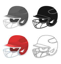 Baseball helmet baseball single icon in cartoon vector