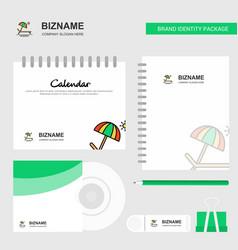 beach logo calendar template cd cover diary and vector image