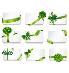 Beautiful cards with green gift bows vector