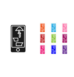 black buying drugs online on mobile phone icon vector image