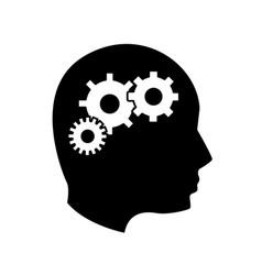 Black contour human man and gear process vector