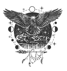 Black raven tattoo or t-shirt print design vector