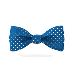 Blue bow tie with print a polka dots vector