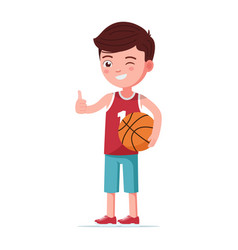 boy basketball player stands with ball vector image