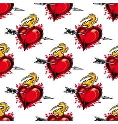Burning fiery heart seamless pattern vector