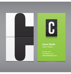 business card letter C vector image