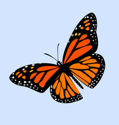 Butterfly monarch on blue background with shadow vector