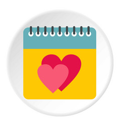 Calendar with hearts icon circle vector