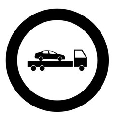 Car service icon black color in circle or round vector