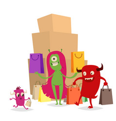 cartoon cute monster shopping character vector image vector image