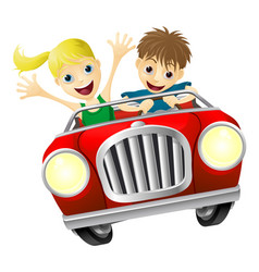 Cartoon man and woman in car vector