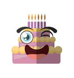 cartoon sweet cake birthday wink vector image