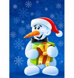 Christmas snowman with gift vector image