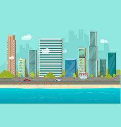 city buildings from sea beach view vector image