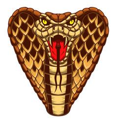 cobra snake in engraving style design element vector image