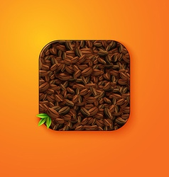 Coffee beans texture icon stylized like mobile app vector image