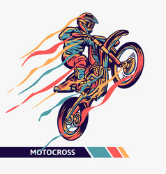 Colorful artwork motocross with motion fast vector