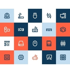 Computer components icons Flat style vector image