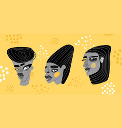 Contemporary art collection faces vector