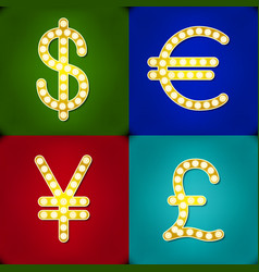 Currency signs Dollar Euro Pound Yen Gr Badge vector