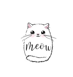cute cat print design meow lettering text vector image