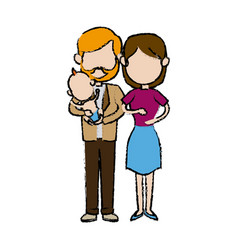 cute couple holding baby boy standing image vector image