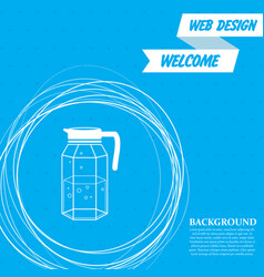 Decanter icon on a blue background with abstract vector
