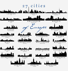 detailed silhouettes european cities vector image