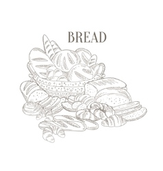 Different Bread Still Life Hand Drawn Realistic vector image