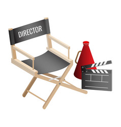 Director empty chair cinema clapper and vector