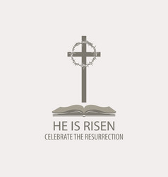 easter banner with bible cross and crown of vector image