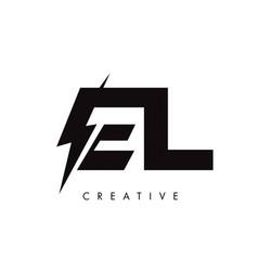 El letter logo design with lighting thunder bolt vector