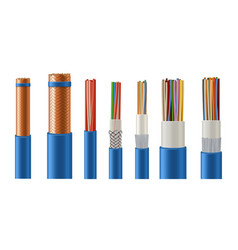 Electric and data cables with copper conductor vector